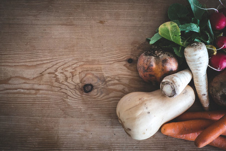 Organic root crops and vegetable
