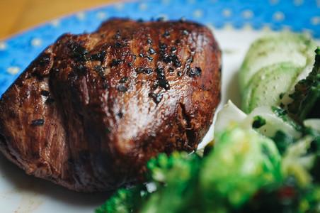 Roasted beef steak
