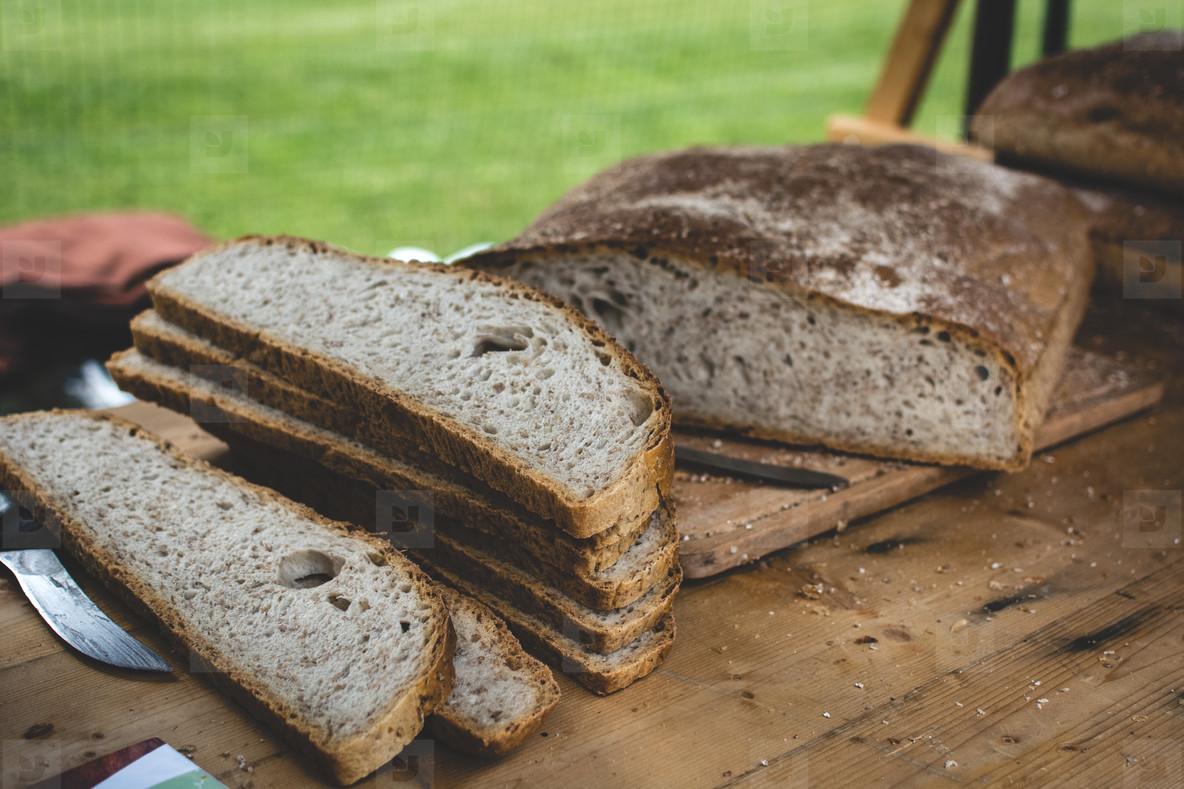 Rustic sourdough bread slices