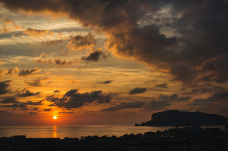 View of sunset over sea and evening dramatic sky  Turkey
