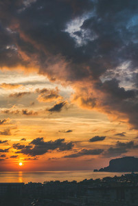 View of sunset over Mediterranean sea and evening sky Turkey