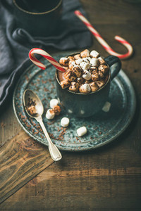 Christmas hot chocolate with marshmallows and cocoa copy space