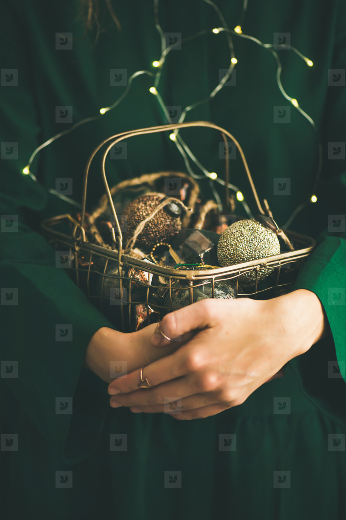 Christmas  New Year tree vintage toys in hands of woman
