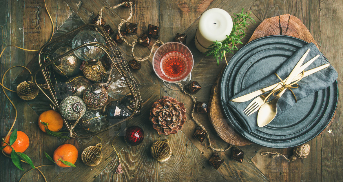 Christmas or New Years eve holiday table setting  top view