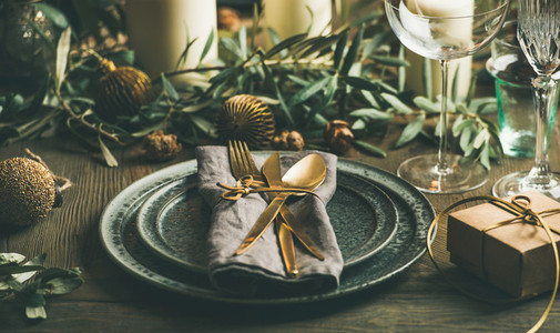 Christmas or New Years celebration party festive table setting concept