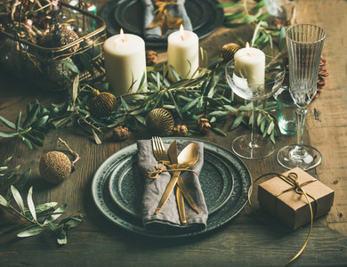 Christmas or New Years celebration table setting with decoration