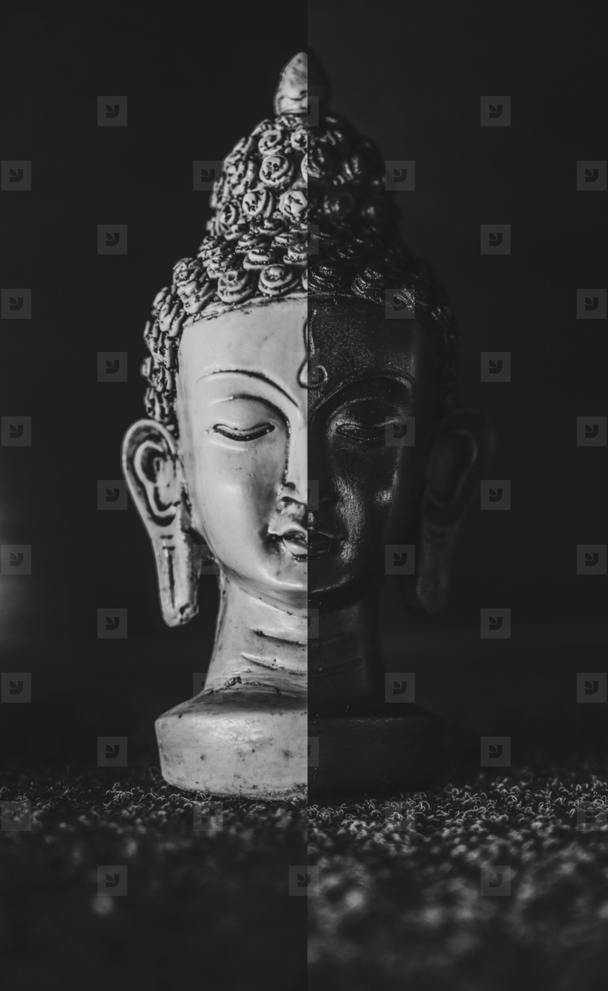 Buddha collage black and white