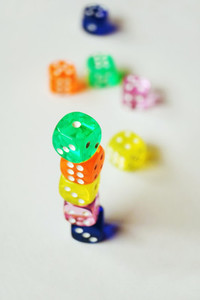 A vibrant colorful macro with depth of field about glass gamblin