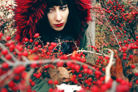 Portrait of a beautiful young brunette woman in red with hood wi