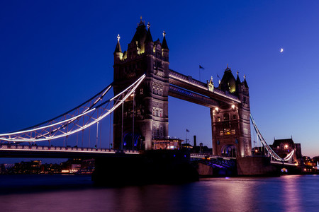 Tower Bridge London city skyline River Thames sunset night