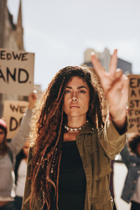 Woman leading a protest