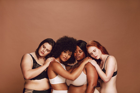 Multiracial group women in lingerie