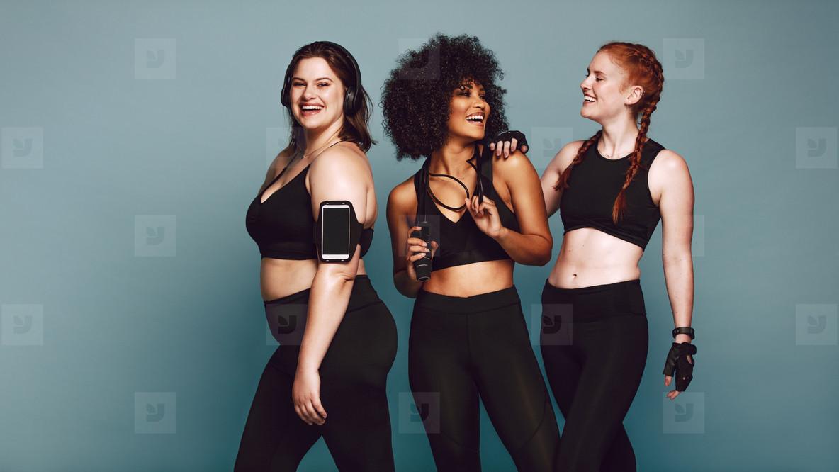Diverse group women in sportswear after workout