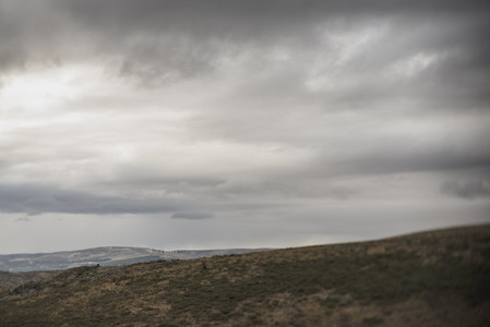 Tranquil remote highlands in gloomy clouds