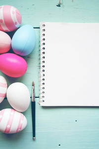 A beautiful and colorful close up flat of isolated easter eggs i