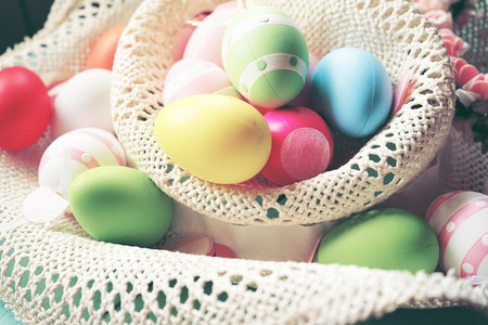 A beautiful and colorful close up of easter eggs in plain pastel