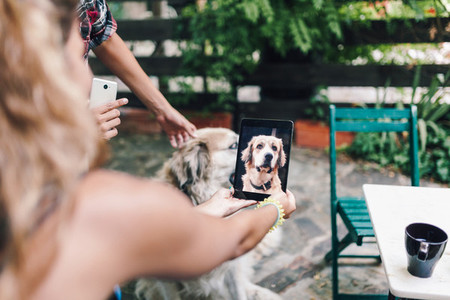 Young couple taking a picture of their dog outside the wooden hut
