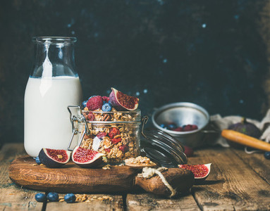 Healthy vegan breakfast with Oatmeal granola and almond milk