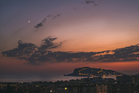 View of twilight and Peninsula in evening lights Alanya Turkey