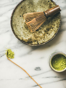 Japanese tools and bowls for brewing matcha tea copy space