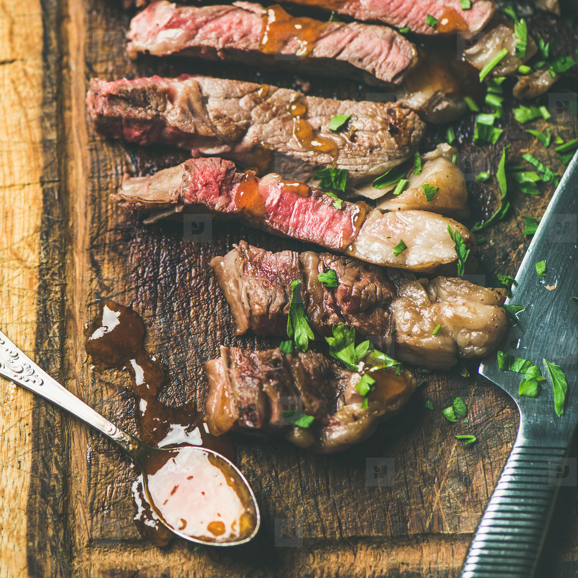 Grilled medium rare ribeye beef steak  square crop