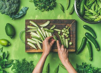 Flat lay of healthy green vegan cooking ingredients
