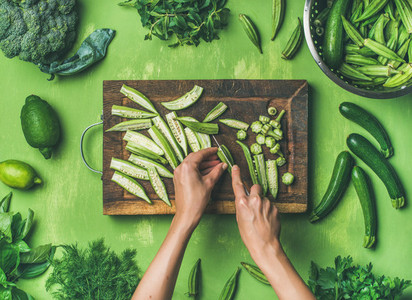 Flat lay of healthy green vegan cooking ingredients