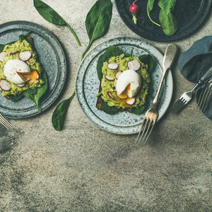 Healthy vegetarian breakfast flat lay  Avocado and egg toasts  square crop