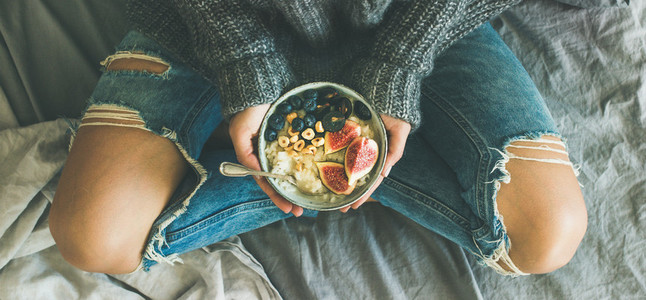 Healthy vegetarian dieting winter breakfast in bed concept