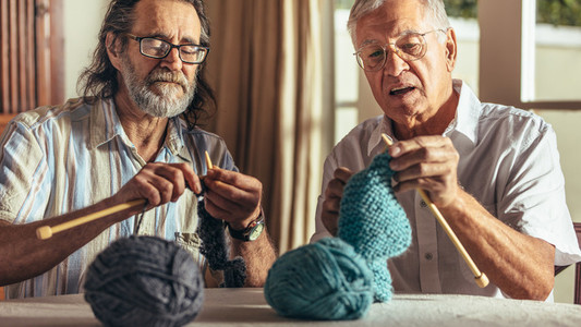Two senior friends knitting at home