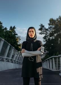 Confident Islamic woman in sportswear