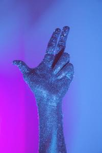 Blue glitter hand