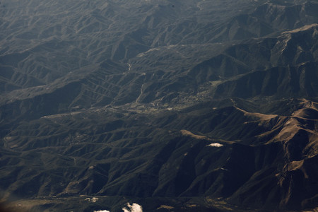 Views of the spanish Pyrenees from the airplane window in Spanish pyrenees