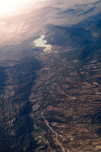 Views of the Yesa reservoir from the airplane window in Spain