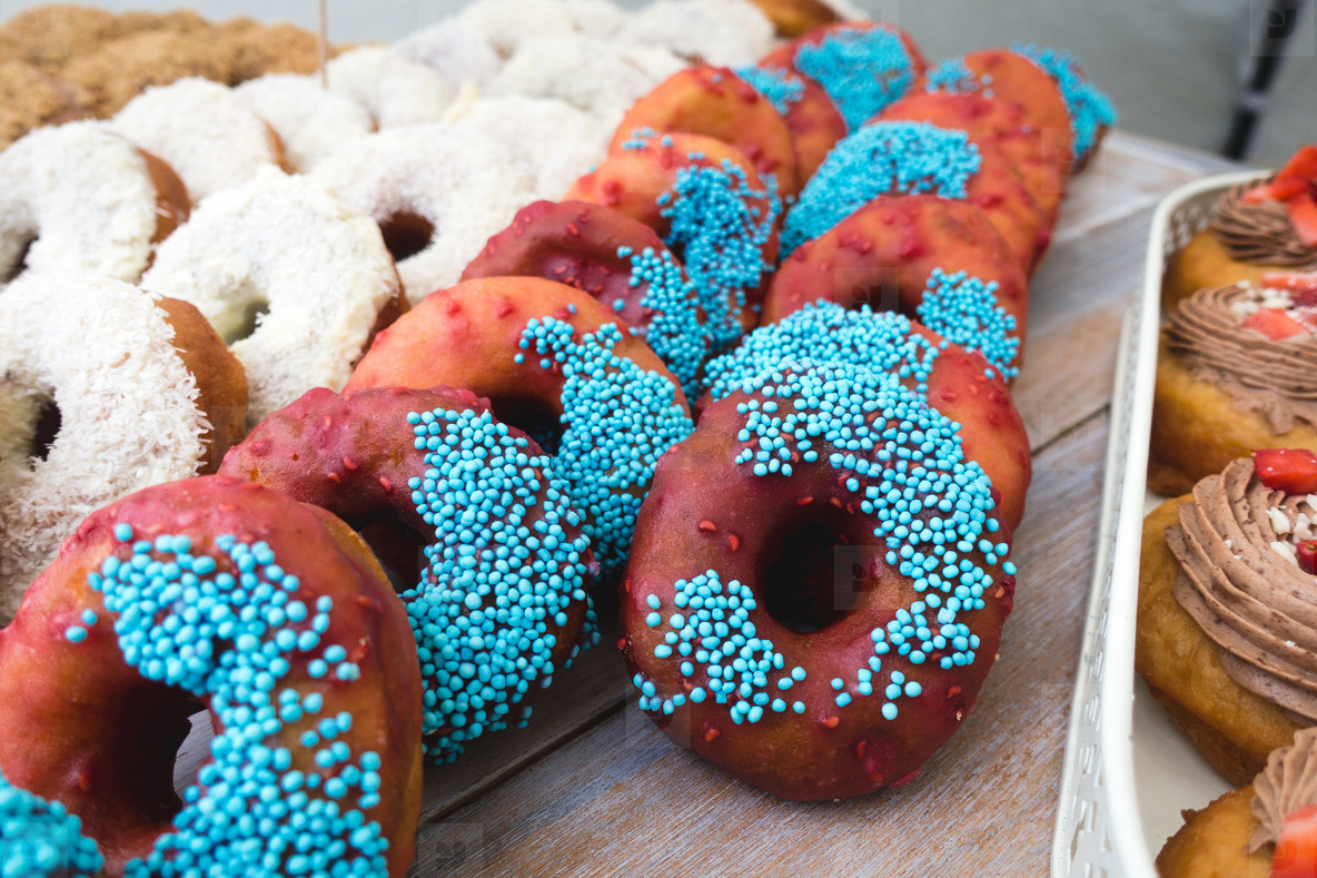Chocolate and coconut donuts