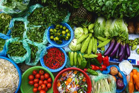 Colorful fresh produce at market