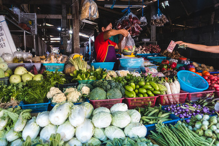 Colorful fresh produce at market