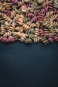 Colorful pasta fusili detail