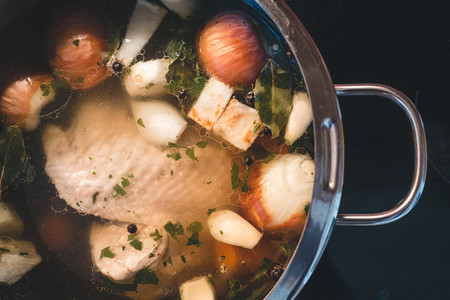 Cooking chicken broth