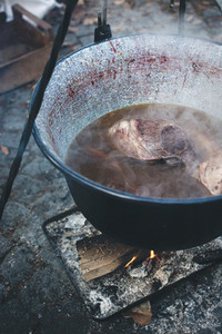 Cooking outside in a cast iron