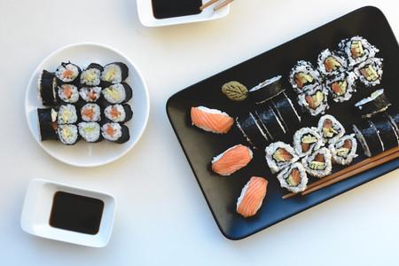 Homemade sushi rolls aerial