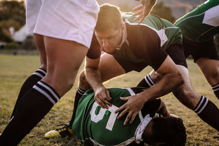 Intense rugby game action