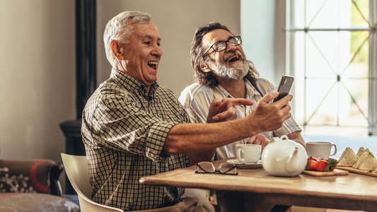 Two old men looking at old photographs together and laughing