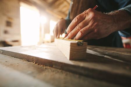 Carpenter working at his workbench