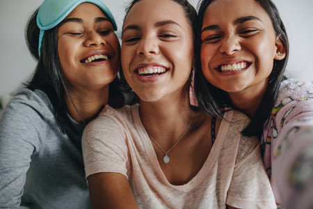 Close up of three girls taking a selfie