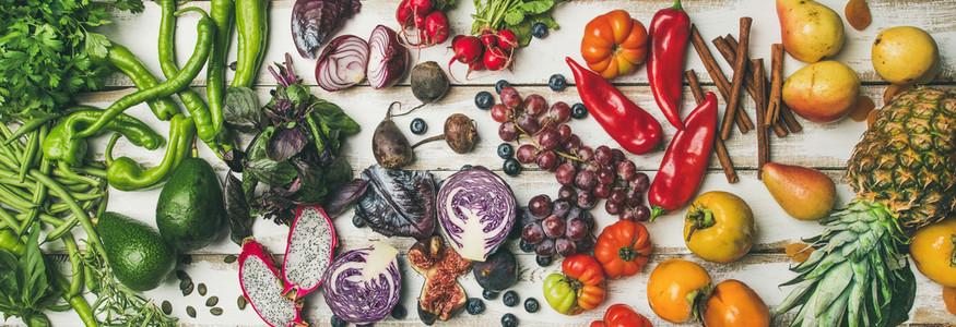 Helathy raw vegan food cooking background top view