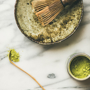 Japanese tools and bowls for brewing matcha tea  square crop