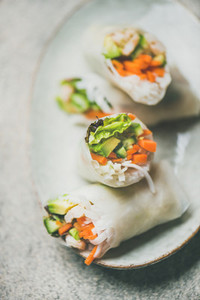 Shrimp and vegetable rice paper spring rolls on plate