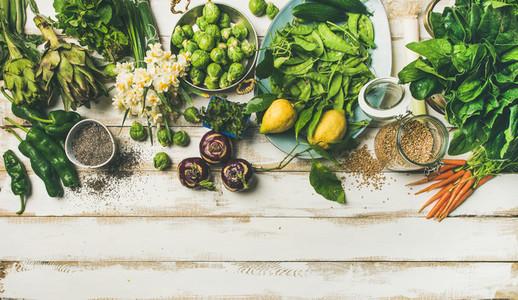 Spring healthy vegan food cooking ingredients  top view  copy space