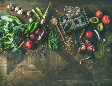 Flat lay of winter vegetarian or vegan food cooking ingredients